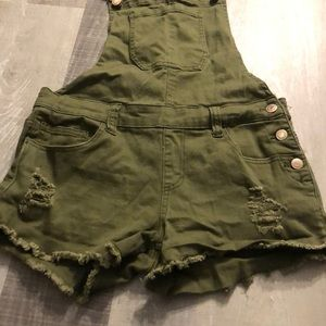 Army Green Forever 21 Denim Overalls